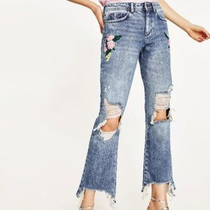 Zara destroyed oversized premium embroidered jeans
